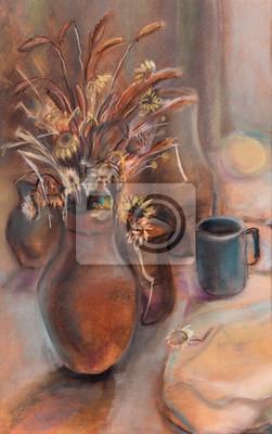 Obraz Gliny dzbanek z suchych kwiatów