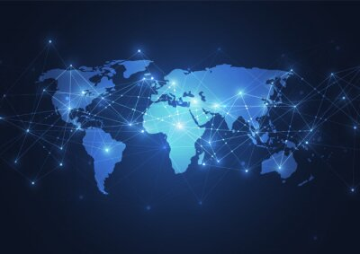 Obraz Global network connection. World map point and line composition concept of global business. Vector Illustration