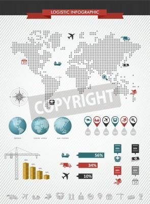 Globalne logistyka infografika ilustracji. Mapa świata z elementami graficznymi Informacje na temat transportu i towarów na całym świecie handlu. Plik wektorowy w warstwach dla łatwej edycji.