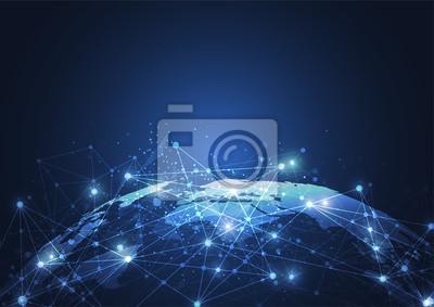 Obraz Globalne połączenie sieciowe. Punkt na mapie świata i koncepcja składu linii globalnego biznesu. Ilustracja wektorowa