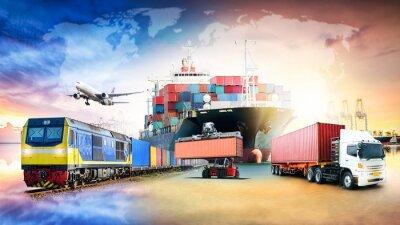 Obraz Globalny biznesowy logistyka import eksportuje tła i zbiornika ładunku frachtowego statku transportu pojęcie