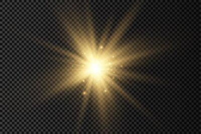 Obraz Glow bright light star, yellow sun rays.