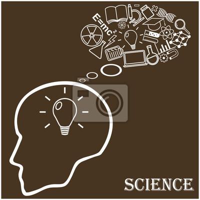 Głowa człowieka i ikony nauki. Ilustracji wektorowych w liniowych