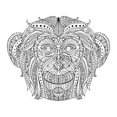 Głowica Monkey stylizowany zentangle stylu.