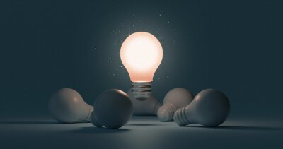 Obraz Glowing idea light bulb and innovation thinking creative concept on success inspiration dark background with solution symbol of electric lamp design. 3D rendering.