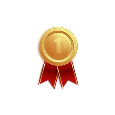 Obraz Gold medal icon for first place with red ribbons for the winner.