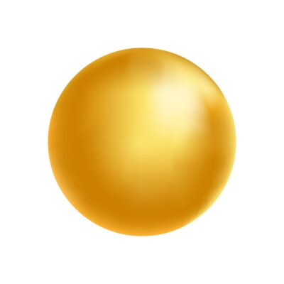 Obraz Gold sphere. Golden glass ball. 3d metal shape. Beauty yellow bubble. Oil circle. Shine luxury design element. Organic and natural cosmetic concept. Vector illustration