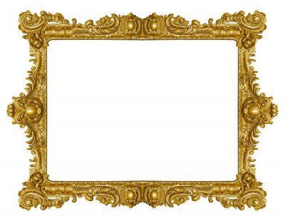 Obraz Golden frame for paintings, mirrors or photo isolated on white background. Design element with clipping path