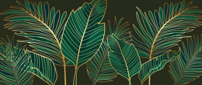 Obraz Golden leaves line art background vector. luxury gold abstract wallpaper with blue and tidewater green color. Design for prints, Home decoration, fabric and cover design. vector illustration.