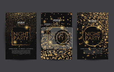 Obraz golden night club party poster