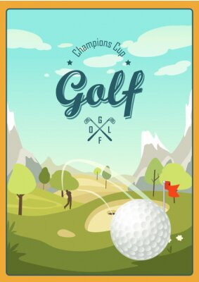 Obraz Golf Ball And A Beautiful landscape. Golf Club. Poster for sport