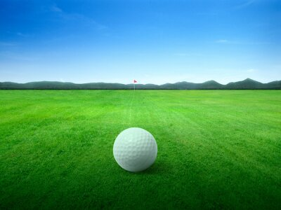 Obraz Golf ball on green grass field and on green fairway with beautiful blue sky
