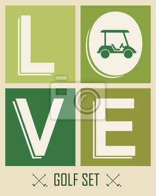 Golf. Emblematy do golfa z dwoma skrzyżowanymi klubów golfowych, ball.Retro l