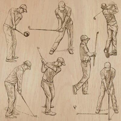 Obraz Golf i Golfiści - ręcznie rysowane wektory