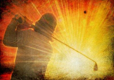 Obraz golfista na grunge