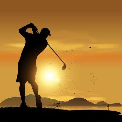 Obraz Golfista sylwetka o zachodzie słońca