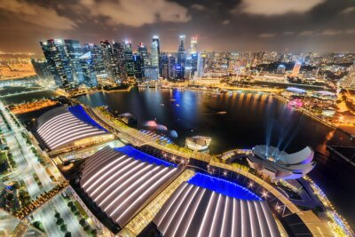 Gorgeous night aerial view of Marina Bay in Singapore