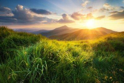 Obraz Górskiej dolinie podczas zachodu słońca. Naturalny krajobraz lato