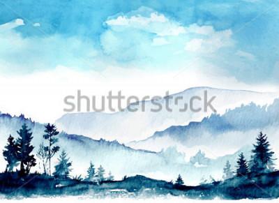 Obraz gory akwarela