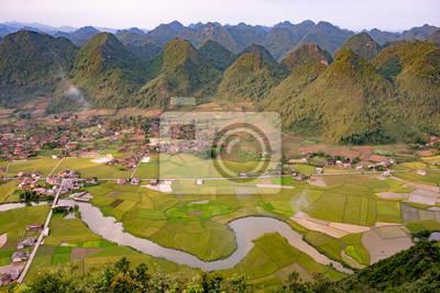 Góry i pole ryżu w Wietnamie