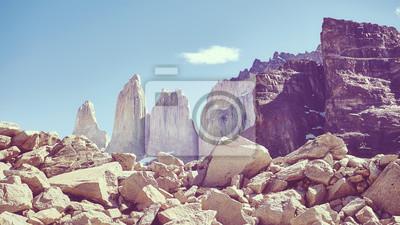 Góry Torres del Paine, kolor stonowanych obraz, Patagonia, Chile.