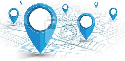 Obraz GPS nawigator pin niebieski kolor makieta w górę wite mapę na białym tle