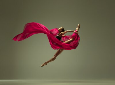 Obraz Graceful ballet dancer or classic ballerina dancing isolated on grey studio background. Woman with the pink silk cloth. The dance, grace, artist, contemporary, movement, action and motion concept.