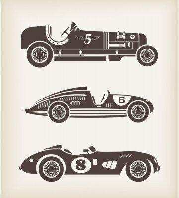 Obraz Grafika samochody zabytkowe wyścigi