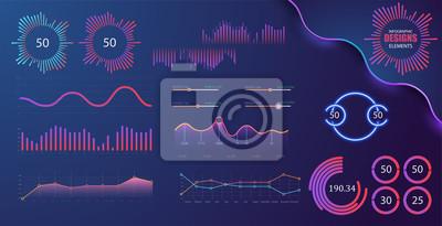 Grafika technologiczna i diagram z opcjami i schematami przepływu pracy. Wektorowi infographic elementy prezentacja. Cyfrowy ekran graficzny i ilustracja diagramu wirtualnego interfejsu