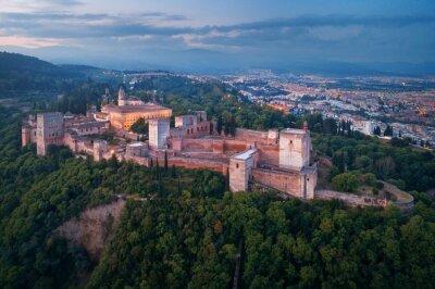 Granada Alhambra aerial view at night