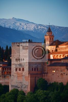 Granada Alhambra panoramic view at night