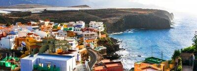 Grand Canary island. traditional architecture, colorful houses, Puertito de Sardina in north,scenic coastal village.