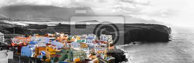 Grand Canary island. traditional architecture, colorful houses,Puertito de Sardinia. Dramatic landscape