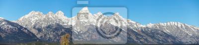 Grand Teton mountain range panorama, Wyoming, USA.