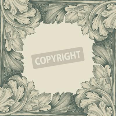 Obraz grawerowanie rocznika granicy ramki z retro ornament wzór w stylu rokoko antyczne projektowania dekoracyjne
