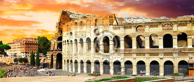 great Rome, panoramic view with Colosseo over sunset