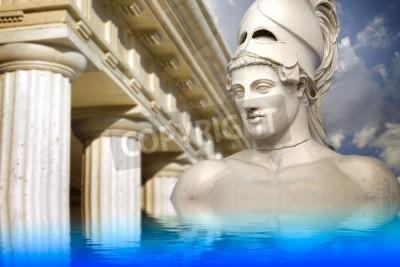 Obraz Grecka rzeźba Walnym Peryklesa, sztuka grecka odzwierciedlenie w spokojnym morzu.