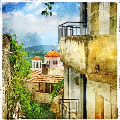 Greckie ulice i klasztorów-malarstwo, grafika w stylu