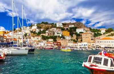 Greek holidays - pictorial port of Hydra island