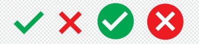 Obraz Green check mark, red cross mark icon set. Isolated tick symbols, checklist signs, approval badge. Flat and modern checkmark design, vector illustration