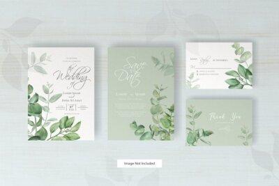 Obraz greenery wedding invitation card with arrangement eucalyptus
