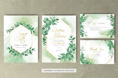 Obraz Greenery wedding invitation template with hand drawn eucalyptus