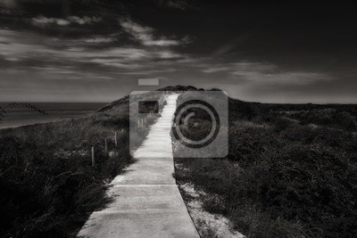 Obraz Greyscale shot of a stone narrow path in the middle of a field under a dark cloudy sky