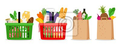 Obraz Grocery food basket. Eco shopping bags and baskets with food. Vector supermarket illustration