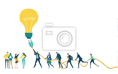 Obraz Group of business people and support going to plug the light bulb. Working together. Brightening idea. Developing, taking a risk, support and solving the problem business concept illustration.