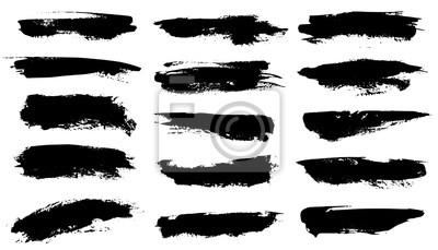 Obraz Grunge brushes. Black paint strokes, ink paintbrush texture. Brushstroke stain grungy drawing frame borders, isolated vector set