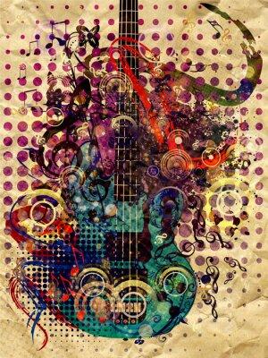 Obraz Grunge Muzyka Gitara Tła