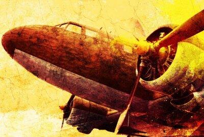 Obraz Grunge starych samolotów wojskowych, tło