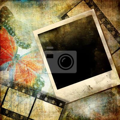 grunge tła z polaroid artystycznej ramie