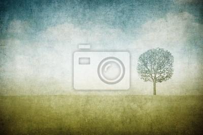 grunge wizerunek drzewa na vintage papieru